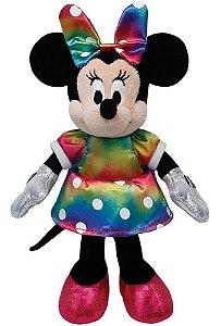 Pelúcia Minnie Mouse Vestido Colorido Ty Beanie Disney