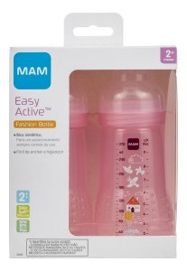 Kit De Mamadeira Easy Active 270ml Mam 4848- Dupla Rosa