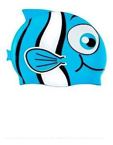 Touca Natação Infantil Silicone Resistente Peixinho Mor Azul