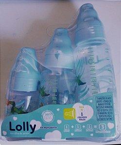 Kit Mamadeira Azul Lolly (80ml - 150ml - 240ml) Livre De Bpa