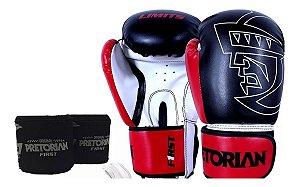 Conjunto Boxe Muay Thai  Firts Preto E Vermelho Tam 14 Oz