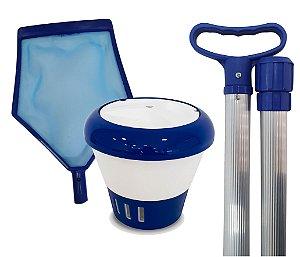 Kit Limpeza Para Sua Piscina - Cabo 1,70 M + Clorador + Peneira
