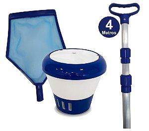 Kit Limpeza Para Sua Piscina - Cabo 4 M + Clorador + Peneira