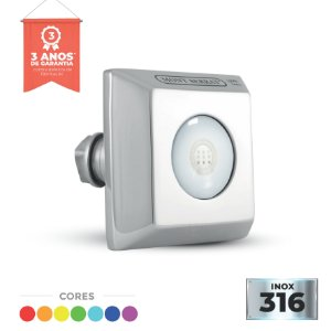 Refletor Inox - Super Led - SL-25 - 10w RGB Encaixe Quadrado - Alvenaria