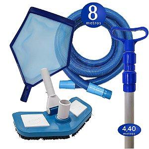 Kit Limpeza Manutenção para Piscinas Alvenaria Fibra Vinil - 8 M