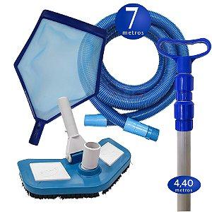 Kit Limpeza Manutenção para Piscinas Alvenaria Fibra Vinil - 7 M