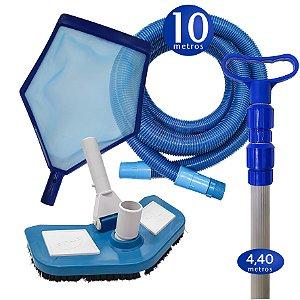 Kit Limpeza Manutenção para Piscinas Alvenaria Fibra Vinil - 10 M