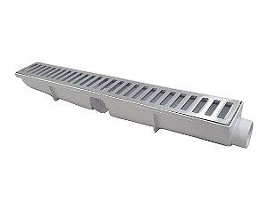Ralo Linear Seca Piso 6x50 Cm Continuo Grelha em Aluminio C/ Coletor branco