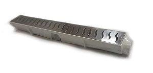 Ralo Linear Seca Piso 6x50 Cm Continuo Grelha em Inox C/ Coletor Branco