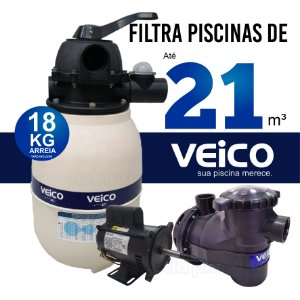 Filtro  V20 Veico Até 21 M³  E Motobomba  1/4 Cv - Bivolt