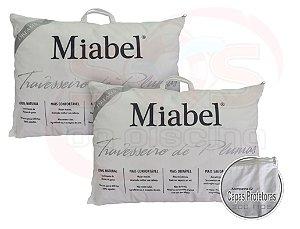 Kit casal 2 Travesseiro Miabel  Dreams  - Prata -  Plumas De Ganso 50x70 cm + Fronhas 200 fios