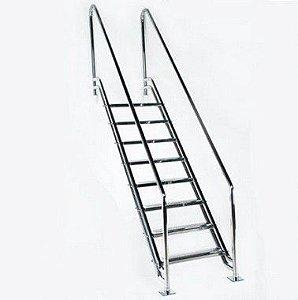 Escada para Piscina - Paris para Obesos e Fisioterápicos - 1,60 M - Aço Inox 304