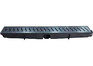Ralo Linear Seca Piso 6x50 Cm Continuo Grelha em Inox C/ Coletor - PRETA