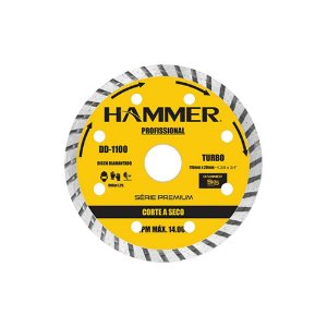 DISCO PROFISSIONAL DIAMANTADO  HAMMER 110 TURBO SECO 1100