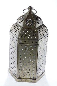 Lanterna Decorativa Marroquina de Metal e Vidro 39cmx21,5cmx18cm Vênus Victrix