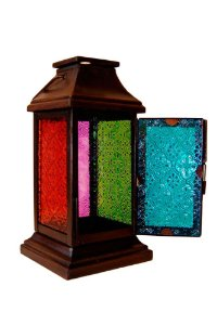 Lanterna Decorativa Quadrada de Metal e Vidro 26cmx11cmx11cm Vênus Victrix
