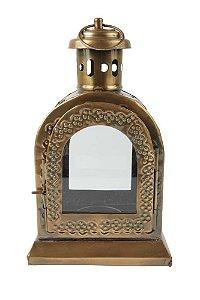 Lanterna Decorativa Marroquina de Metal e Vidro 20cmx12cmx9cm Vênus Victrix