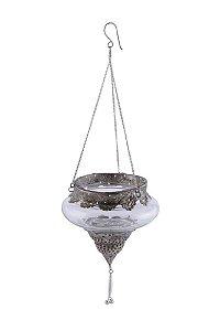 Suporte Pendente para Vela Vidro e Metal 15cmx15cm Vênus Victrix