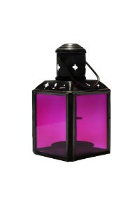 Lanterna Decorativa de Metal e Vidro 11cmx6cmx6cm Vênus Victrix