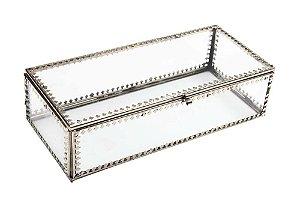 Caixa Organizadora de Vidro e Metal 20cmx9cmx6,5cm Vênus Victrix