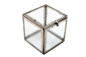 Caixa Organizadora de Vidro e Metal 8cmx8cmx9,5cm Vênus Victrix