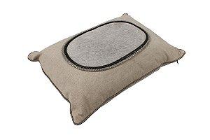 Capa para Almofada de Algodão com Aplique em Couro 35cmx50cm Vênus Victrix