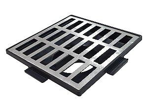 Conjunto Grelha e Porta Grelha Alumínio RETA  20 x 20 cm Com saida B