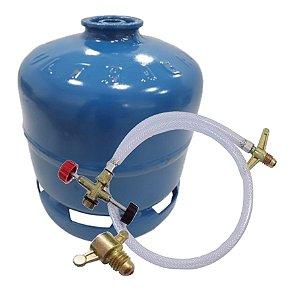 Botija Botijão Para Gás Glp P-2 + Transferidor De Gás E Adaptador