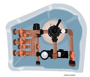 Casa de Maquina Br-50 Com Filter Clean  + Bomba de Aquecimento  para Piscina de até 70.400 Lts