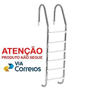 Escada para Piscina - Aço Inox - 6 Degraus em ABS