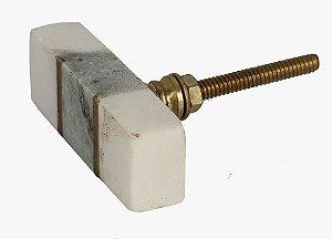 Puxador bloco Mármore branco e cinza, detalhe dourado
