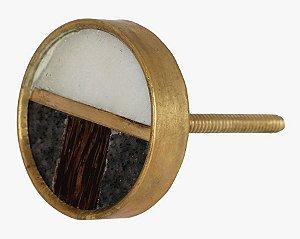 Puxador metal dourado madeira e mármore