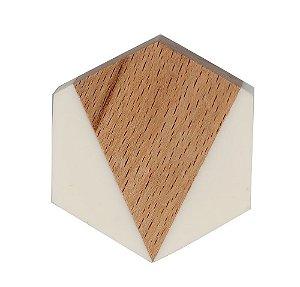 Puxador hexagonal madeira branco