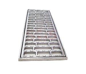 Conjunto Grelha e Porta Grelha Alumínio Anti derrapante 20 x 50 cm