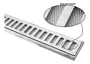 Ralo grelha suporte alumínio c/ tela anti-inseto 10 x 50 Cm