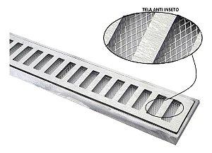 Ralo grelha suporte alumínio c/ tela anti-inseto 10 x 100 CM