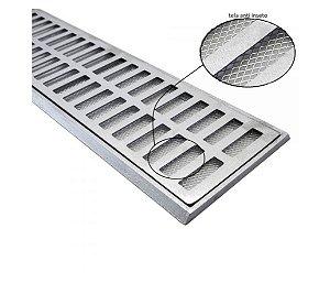Ralo Grelha Suporte 15 x 100 Cm Alumínio C Tela Anti-Inseto