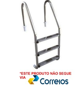 Escada para Piscina - Aço Inox - 3 Degraus em Aço Inox