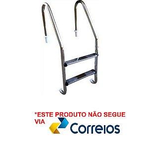 Escada para Piscina - Aço Inox - 2 Degraus em Aço Inox