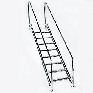 Escada para Piscina - Paris para Obesos e Fisioterápicos - 1,50 M - Aço Inox 304