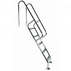 Escada para Piscina - Barcelona - 4 Degraus de 75 mm - 1,30 M - Aço Inox 304