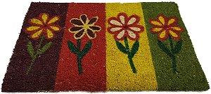 Tapete - Capacho 4 Flores em Pé - em Fibra de Coco e Base de Borracha - T0216