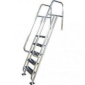 Escada para Piscina - Valência - 5 Degraus - 1,30 M - Aço Inox 304