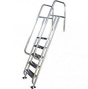 Escada para Piscina - Valência - 6 Degraus - 1,50 M - Aço Inox 304