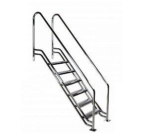Escada para Piscina - Paris - Para Obesos e Fisioterápicos - 1,20 m - Aço Inox 304