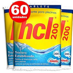PASTILHA DE CLORO - HCL TAB - TRICLORO ESTABILIZADO - 200 G - 60 UNIDADES