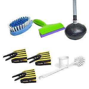 Kit Limpeza vassoura para cozinha e banheiro