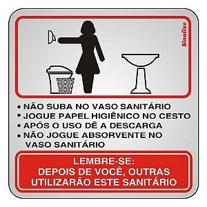 PLACA SINALIZAÇÃO ALUMÍNIO - PROCEDIMENTO SANITÁRIO FEMININO