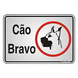 PLACA DE SINALIZAÇÃO ALUMÍNIO 16X23  CM - CUIDADO CÃO BRAVO