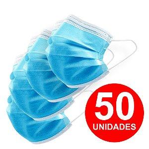 50 UNID MASCARA DE PROTEÇÃO DESCARTÁVEL AZUL TNT TRIPLA FACE